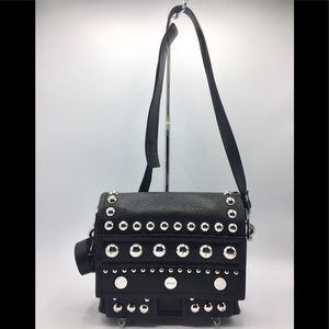 Kenzo Paris Black Leather Studded Crossbody Bag